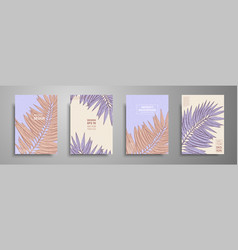 pastel covers design set with tropical leaves vector image