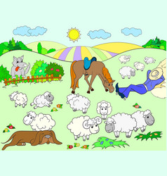 pasture sheep with a shepherd and dog coloring for vector image