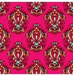 Pink floral damask design vector