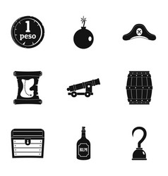 Pirates of the sea icon set simple style vector