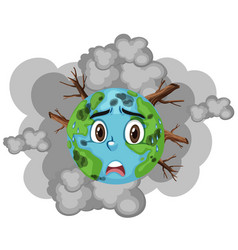 Pollution on earth with lots smoke and vector