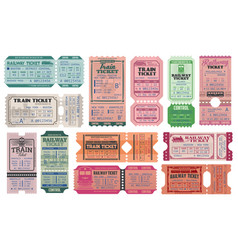 Railway and train retro tickets admits vector