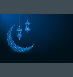 ramadan kareem background with low poly crescent vector image