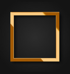 realistic square shiny gold frame vector image