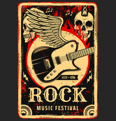Rock music poster skull and electric guitar wings vector