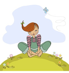 romantic girl sitting barefoot in the grass vector image