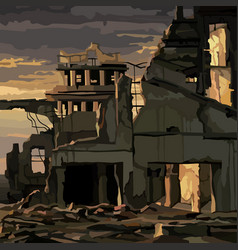 Ruins destroyed houses in gloomy sunset vector