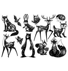 Scandinavian animals forest dwellers nordic vector