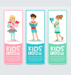 Set of banners with cheerful teens holding books vector