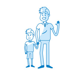 Silhouette happy man with his son holding hand vector