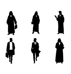 silhouettes arab businessmen vector image