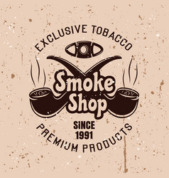 Smoke shop emblem with two smoking pipes vector