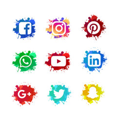 Social media set with ink splashed vector