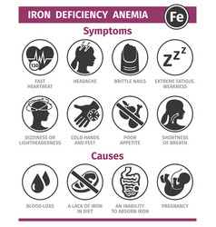 Symptoms and causes iron deficiency anemia vector