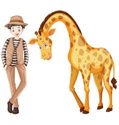 Tall man and cute giraffe vector