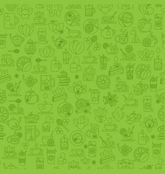 Tea seamless background with thin line icons vector