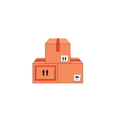 three cardboard boxes stacked on top each other vector image