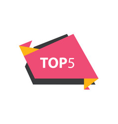 Top5 text in label pink yellow black vector