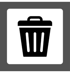 Trash Can flat black and white colors rounded vector image