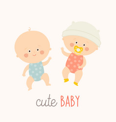 Two cute babies lying with baby pacifier toddler vector