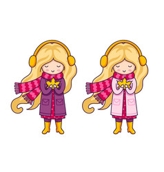 two cute blonde little girls in pink coats and a vector image