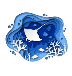Underwater paper cut ocean bottom with sea vector