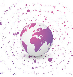 violet world globe on dotted background vector image