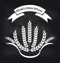 wheat branches on blackboard logo vector image