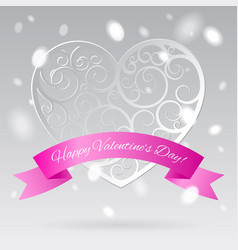 white decorative paper hearts with pink banner in vector image