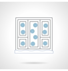 Window with snowflakes flat color line icon vector