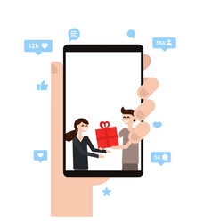 woman holding smartphone with picture on display vector image