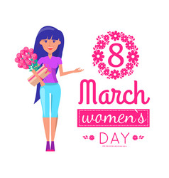 womens day on 8 of march greeting card with girl vector image