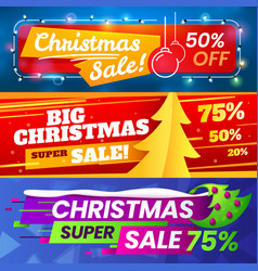 Xmas sale banners advertising christmas marketing vector