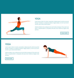 Yoga body and mind exercises color banner vector