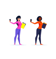 young woman making selfie flat style vector image
