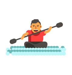 athletic man swims on black single-seat kayak vector image