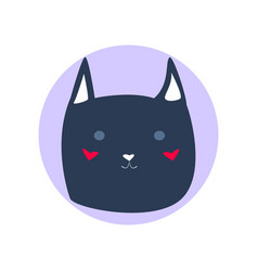 dark blue cute cartoon style cat in shape of grey vector image