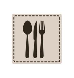 emblem metal cutlery icon vector image