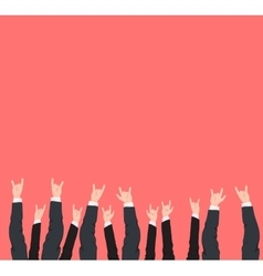 Many hands up cool rock victory and success vector