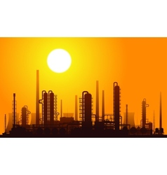 Oil refinery at sunset vector image