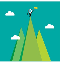 The blue eye leader on the top of mountain vector image