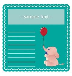 Baby Elephant Card vector image