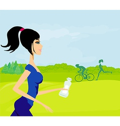 girl jogging fitness in the park vector image