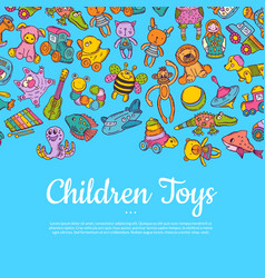 hand drawn colored children or kid toys vector image vector image
