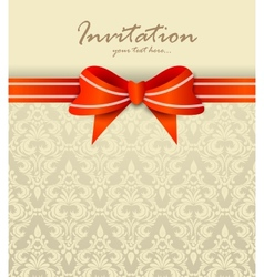 Invitation card with bow vector image vector image