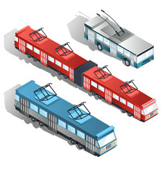 modern city transport isometric collection vector image vector image