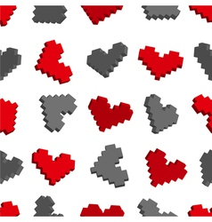 Pixel hearts seamless background pattern vector image vector image