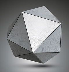 Polygonal metallic dimensional abstract object vector image