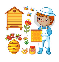 set with bee apiary and boy vector image