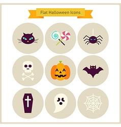 Flat Halloween Icons Set vector image vector image